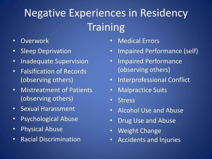 Negative Experiences in Residency Training