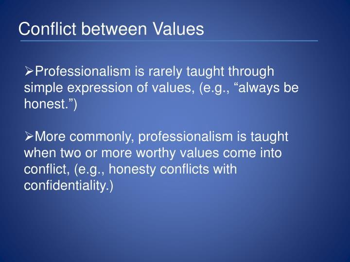 Conflict between Values