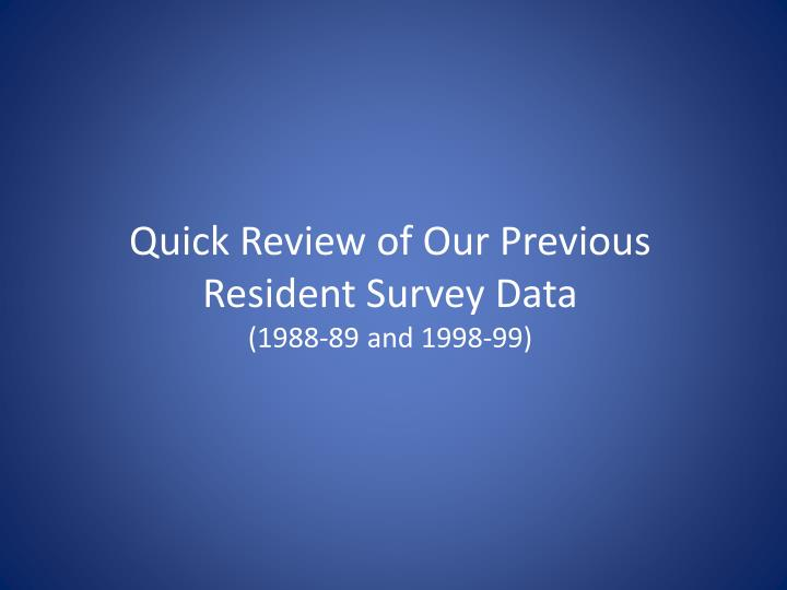 Quick Review of Our Previous Resident Survey Data