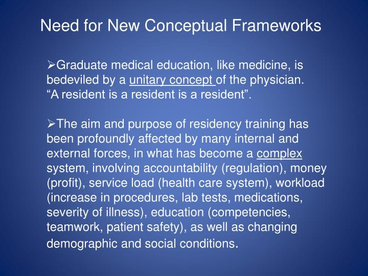 Need for New Conceptual Frameworks