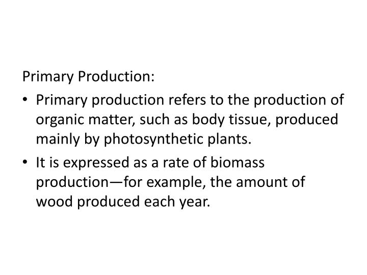 Primary Production: