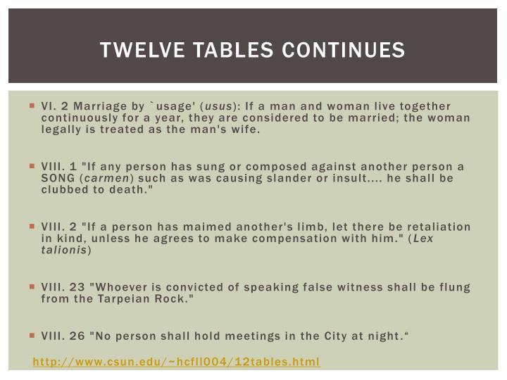 Twelve Tables Continues