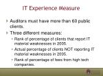 it experience measure