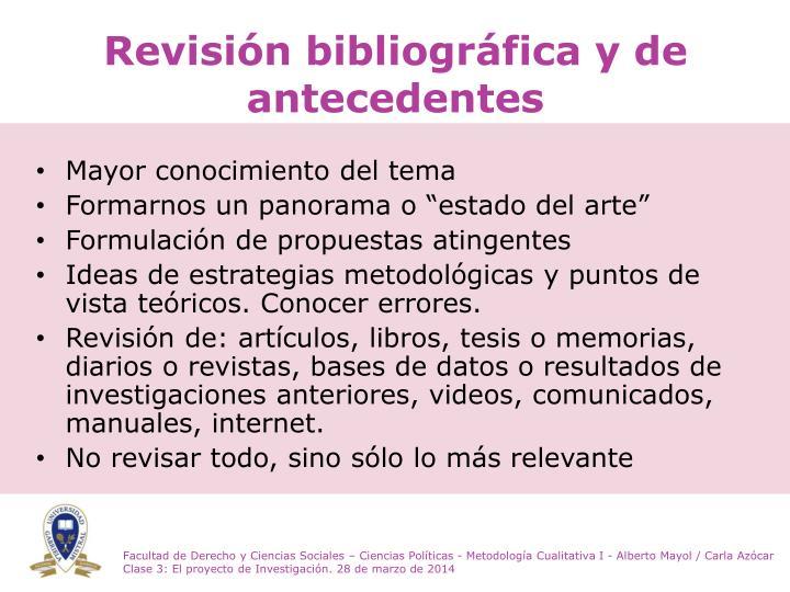 Revisión bibliográfica y de antecedentes