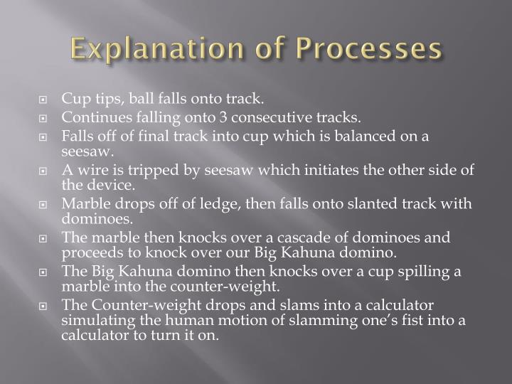 Explanation of Processes