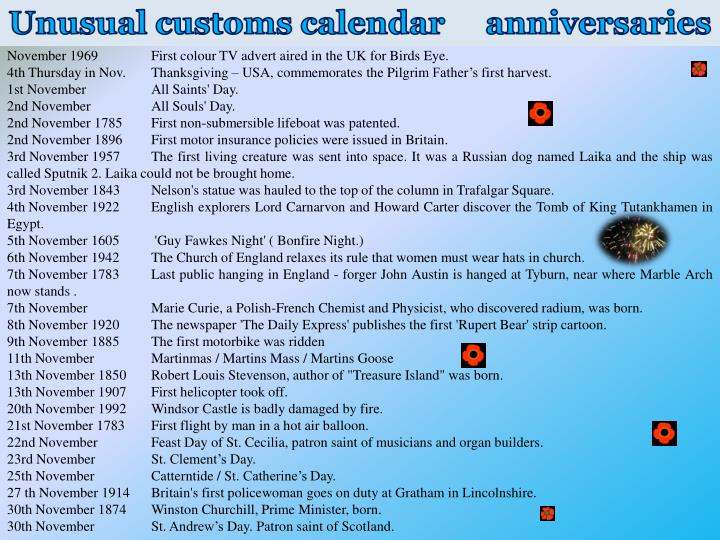 Unusual customs calendar