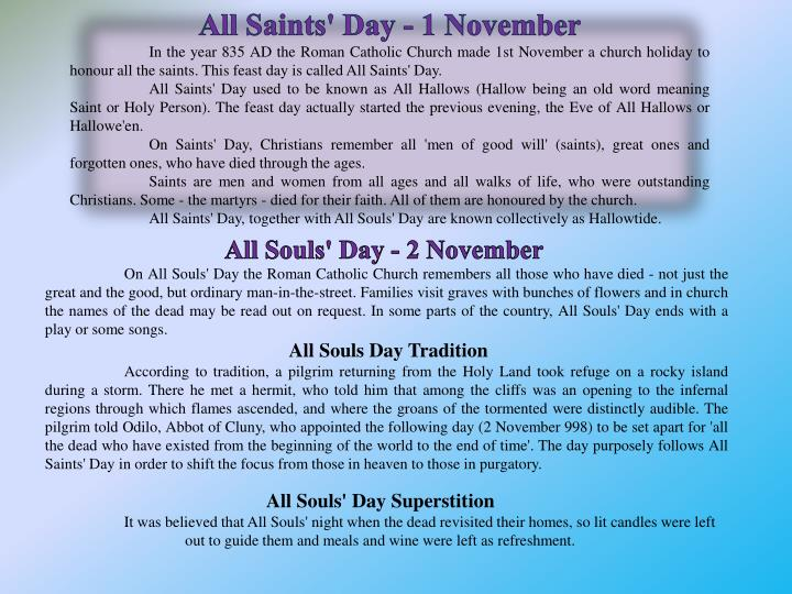 All Saints' Day - 1 November