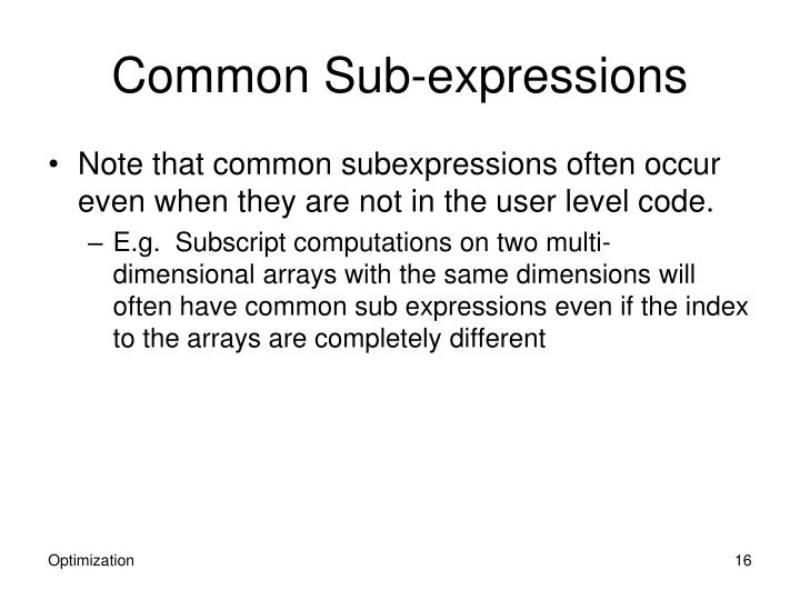 Common Sub-expressions