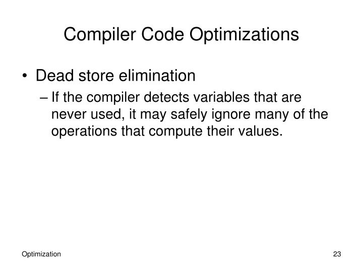 Compiler Code Optimizations