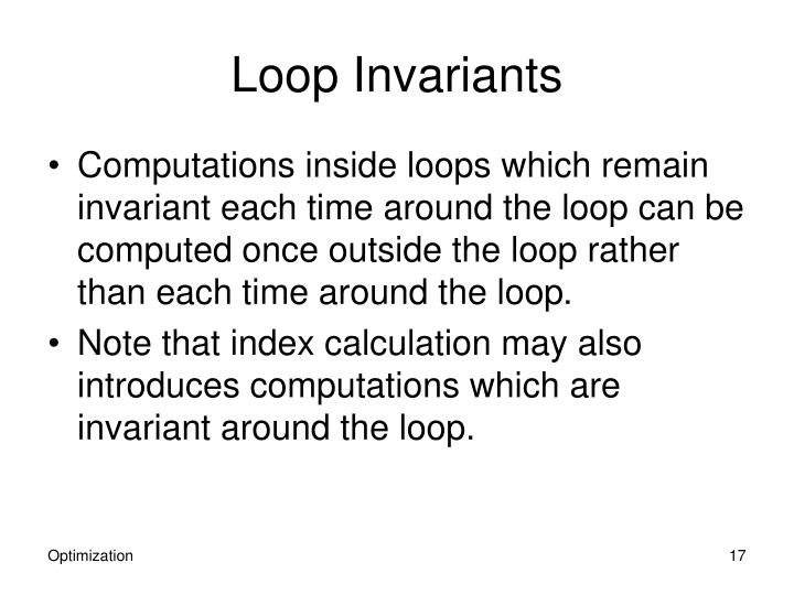 Loop Invariants