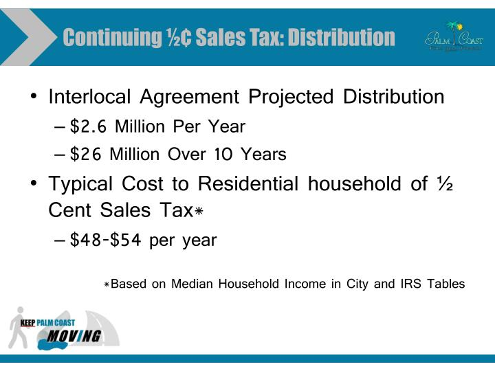 Continuing ½¢ Sales Tax: Distribution