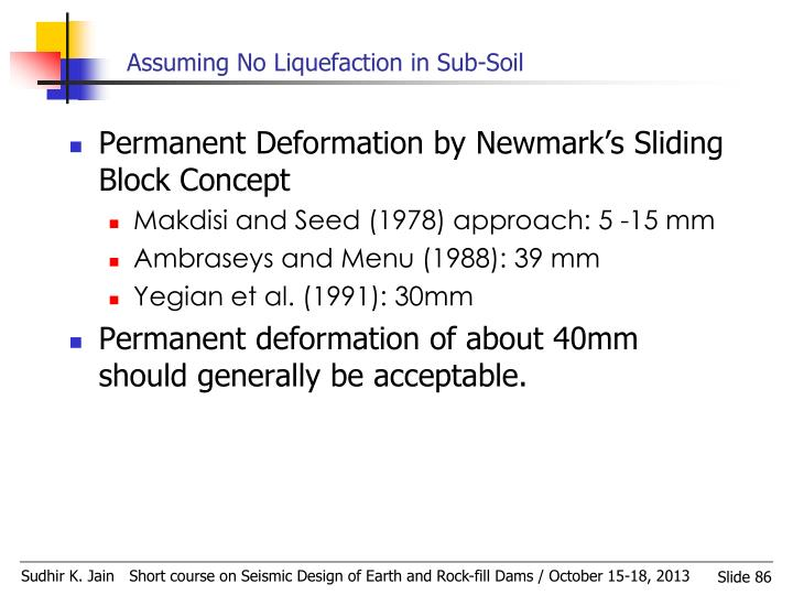 Assuming No Liquefaction in Sub-Soil