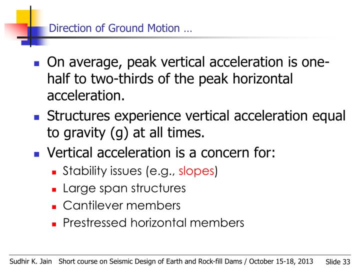 Direction of Ground Motion …