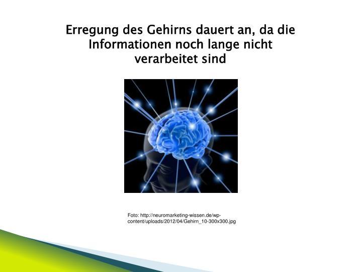 Erregung des Gehirns dauert an, da die Informationen noch lange nicht verarbeitet sind