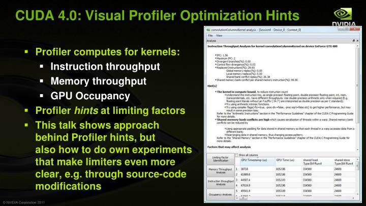 CUDA 4.0: Visual Profiler Optimization Hints