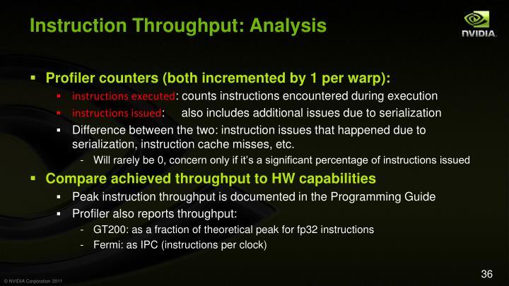 Instruction Throughput: Analysis
