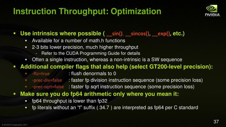 Instruction Throughput: Optimization