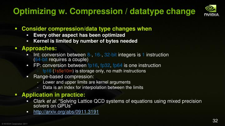 Optimizing w. Compression / datatype change