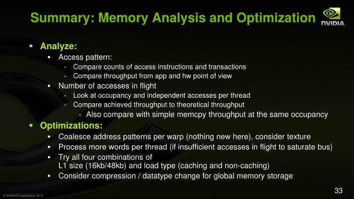 Summary: Memory Analysis and Optimization