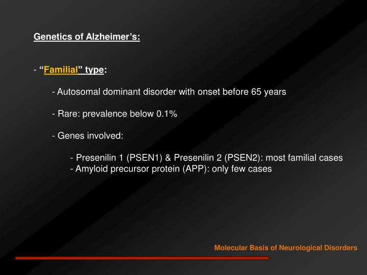 Genetics of Alzheimer's: