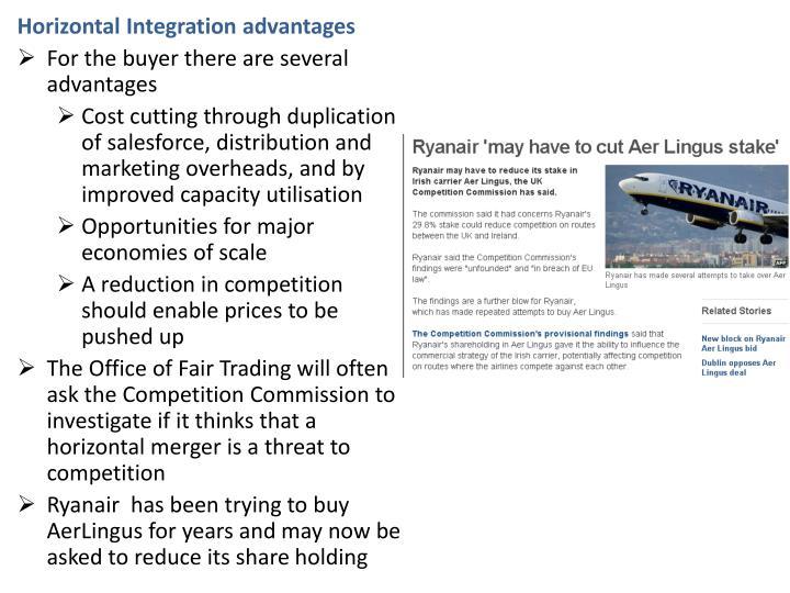 Horizontal Integration advantages