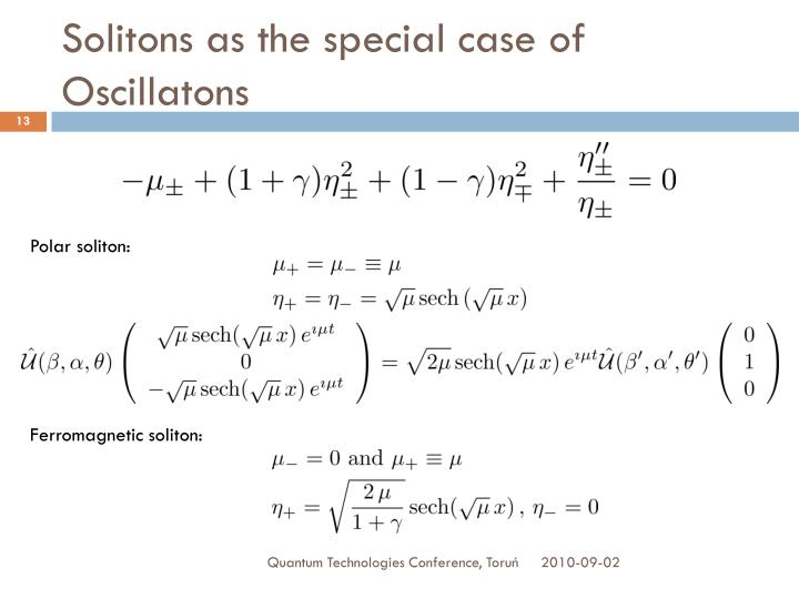 Solitons as the special case of Oscillatons
