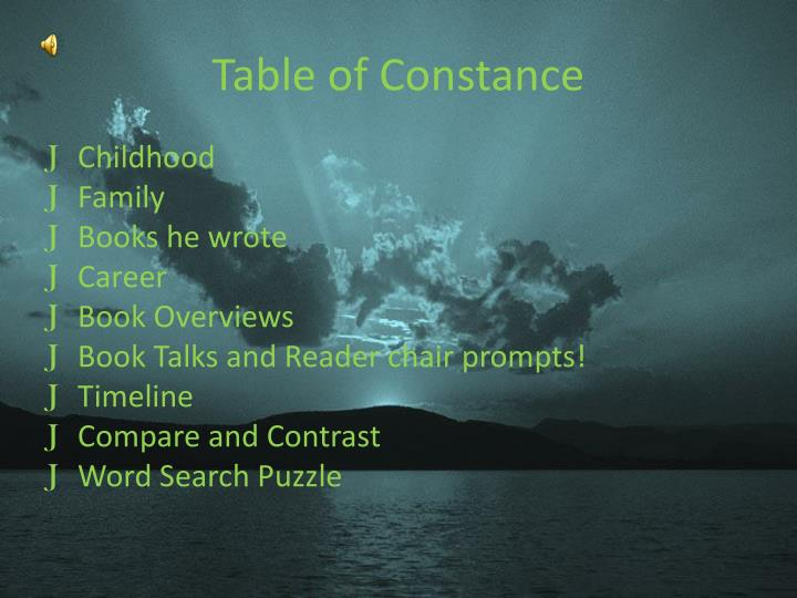 Table of constance