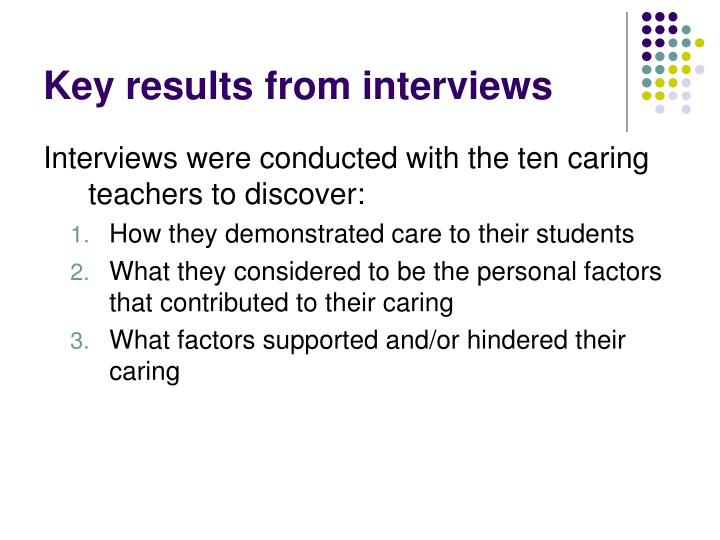 Key results from interviews