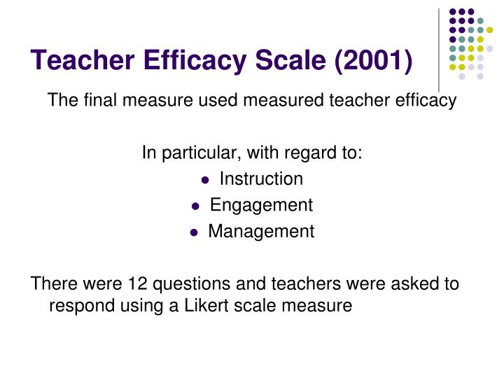 Teacher Efficacy Scale (2001)
