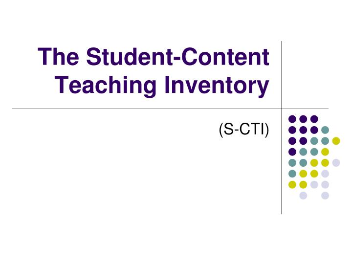 The Student-Content Teaching Inventory