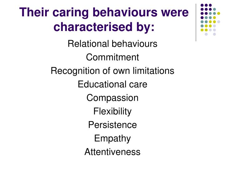 Their caring behaviours were characterised by: