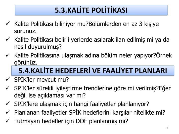 5.3.KALİTE POLİTİKASI