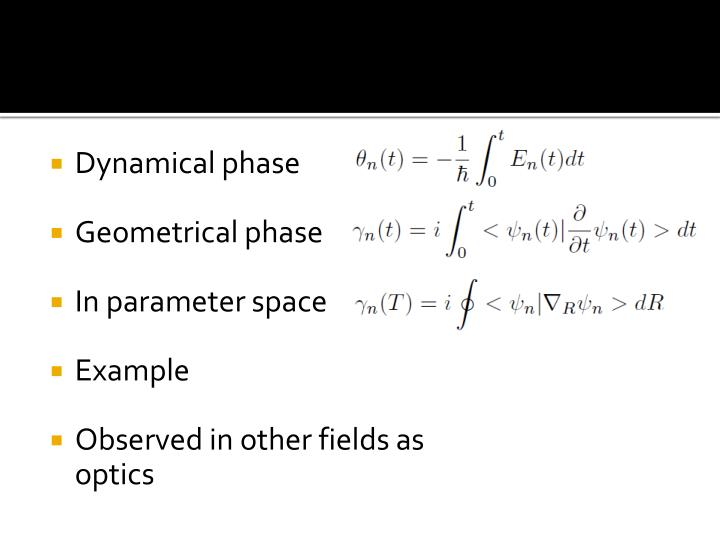 Dynamical phase