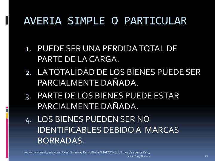 AVERIA SIMPLE O PARTICULAR