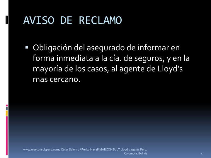 AVISO DE RECLAMO