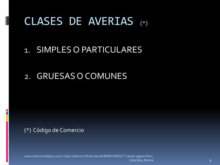 CLASES DE AVERIAS