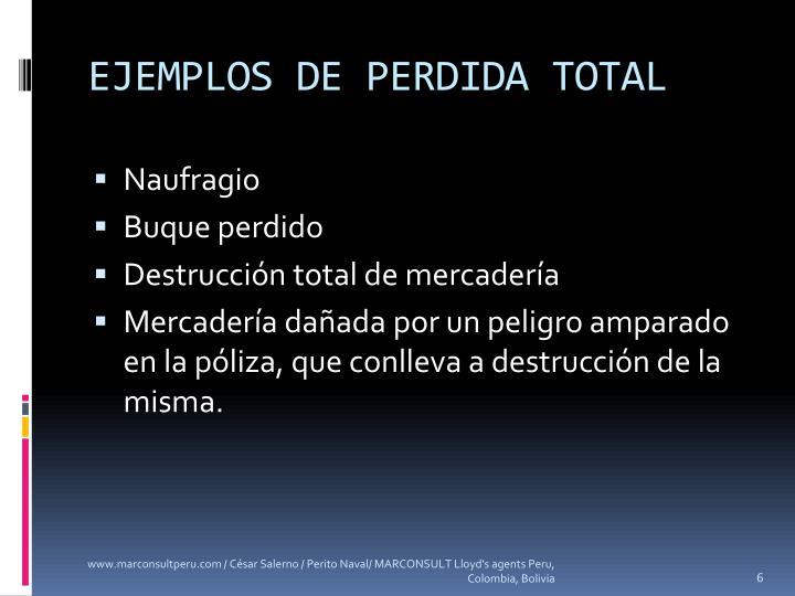 EJEMPLOS DE PERDIDA TOTAL