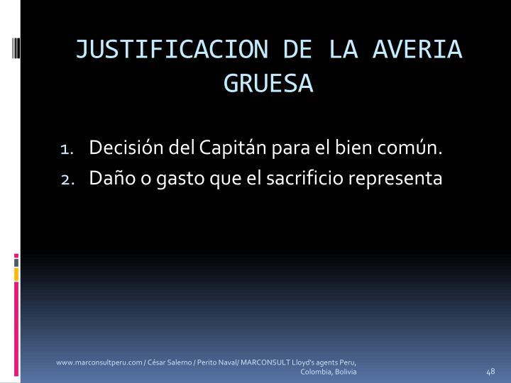 JUSTIFICACION DE LA AVERIA GRUESA