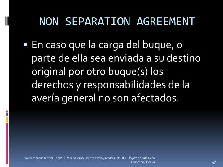 NON SEPARATION AGREEMENT