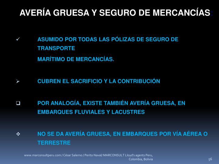 AVERÍA GRUESA Y SEGURO DE MERCANCÍAS
