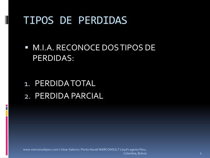 TIPOS DE PERDIDAS