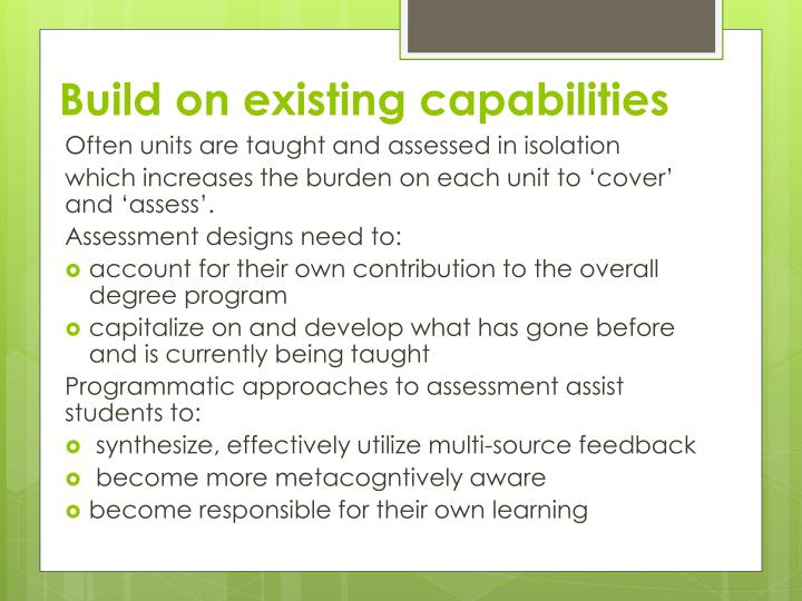 Build on existing capabilities