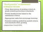 good practice in assessment underpins fairness