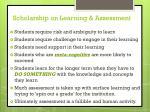 scholarship on learning assessment