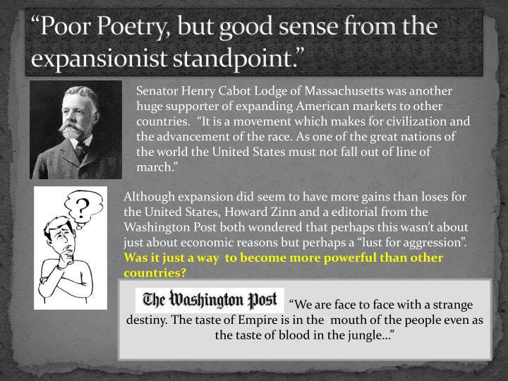"""Poor Poetry, but good sense from the expansionist standpoint."""