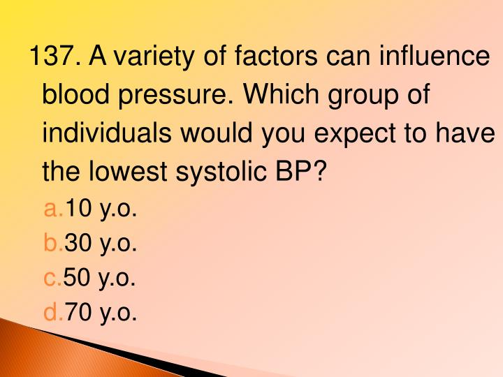 137. A variety of factors can influence blood pressure. Which group of individuals would you expect to have the lowest systolic BP?