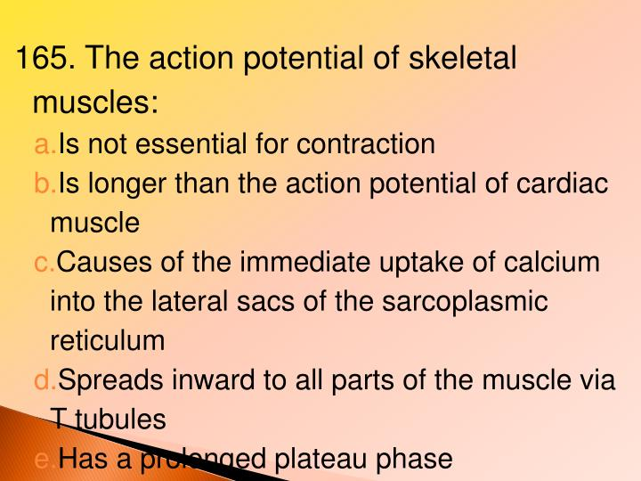 165. The action potential of skeletal muscles: