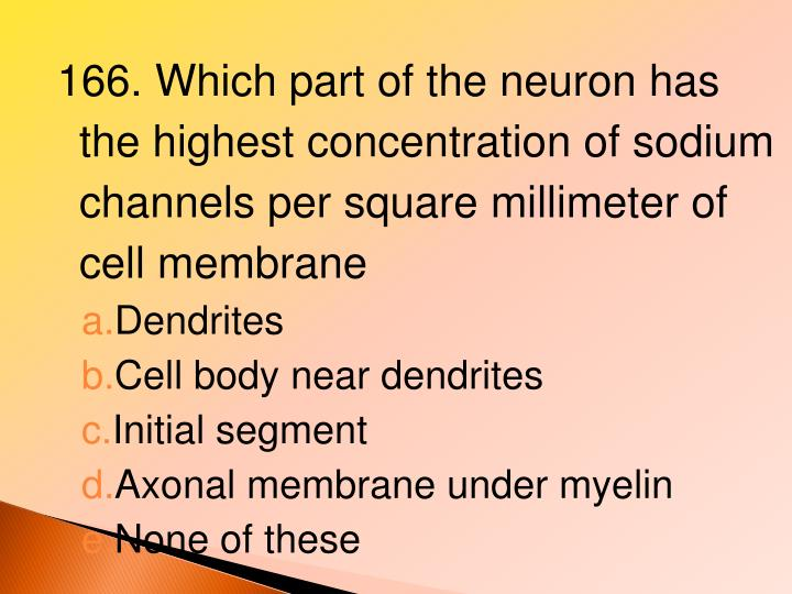 166. Which part of the neuron has the highest concentration of sodium channels per square millimeter of cell membrane