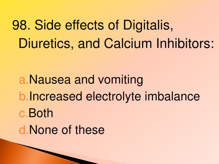 98. Side effects of Digitalis, Diuretics, and Calcium Inhibitors: