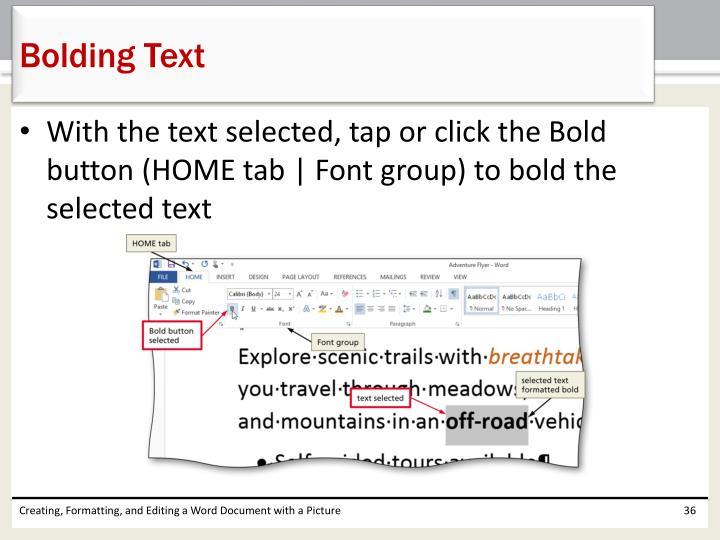 Bolding Text
